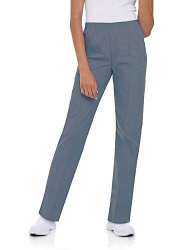 Landau Women's Classic Fit Elastic Waist Scrub Pants X-Large Petite Steel ()