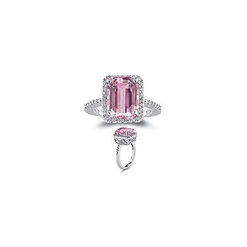 0.28 Ct Diamond & of 10x8 mm AA Emerald Kunzite Ring in 14K White Gold-7.5 (Kunzite Rings In White Gold)