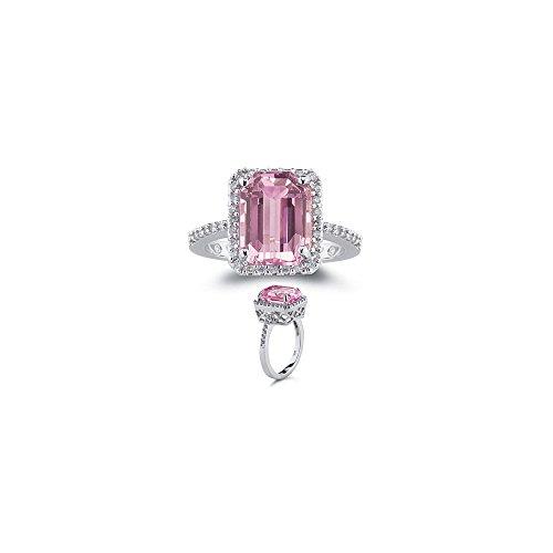 0.28 Ct Diamond & of 10x8 mm AA Emerald Kunzite Ring in 14K White Gold-8.0