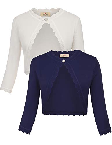 GRACE KARIN Women's Classic 3/4 Sleeve Open Front Knit Cropped Bolero Cardigan (White+Navy, X-Large)