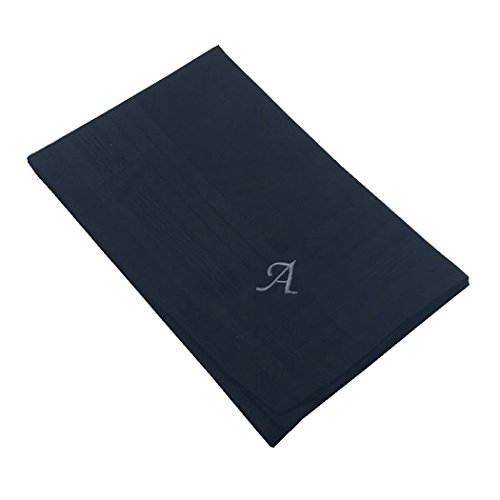 OWM Handkerchief Pack of 3 Cotton Embroidered Initial Monogram Handkerchief Men (A, Black) by OWM (Image #1)