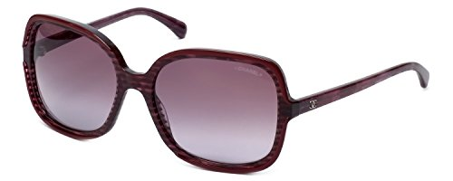 Chanel Designer Sunglasses 5319-1517 in Red-Stripe with Burgundy Gradient Lens
