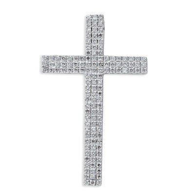 Or blanc 18ct Diamant Pendentif Croix-JewelryWeb