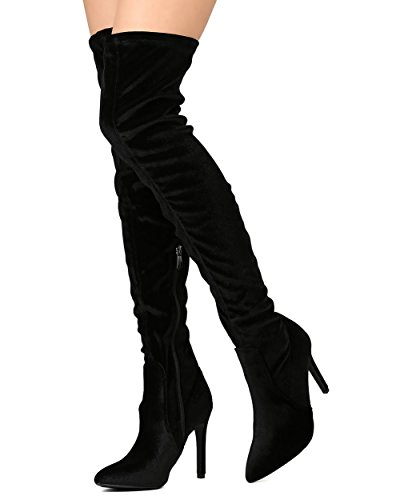 Cape Robbin Gb23 Femmes Velours Cuisse Haute Pointu Orteil Stiletto Boot Noir