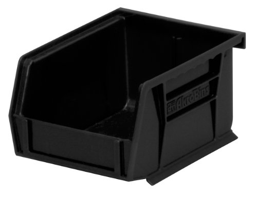 Akro-Mils 30210 5-Inch by 4-Inch by 3-Inch Plastic Storage Stacking Hanging ESD Akro Bin, Black, Case of 24 by Akro-Mils