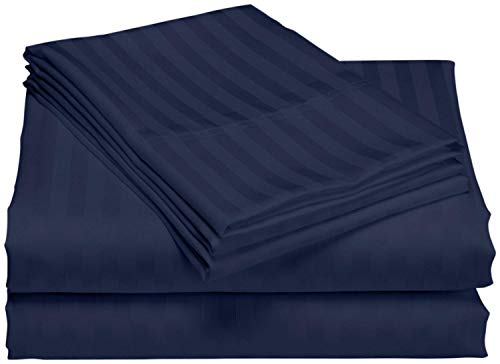 (Linen-Square 600-Tread-Count Sheet Set 4PCs Long-Staple Egyptian Cotton Sheets for Bed Fits Mattress Upto 16 Inch Deep Pocket - Full, Navy Blue Stripe)