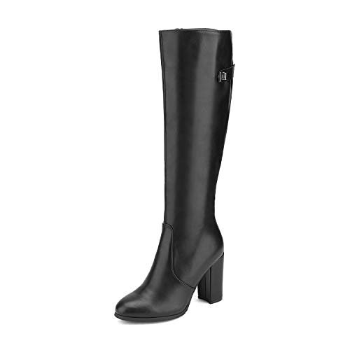 DREAM PAIRS Women's Black Pu Block Chunky Heel Knee High Suede Leather Boots Size 5.5 M US Kara-2 (Boots Best Leather Women)
