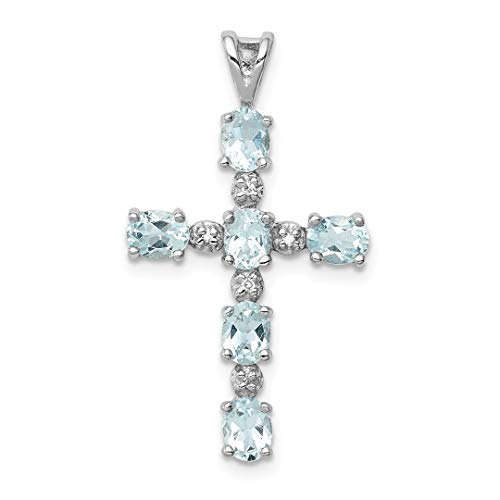 925 Sterling Silver Diamond Blue Aquamarine Cross Religious Pendant Charm Necklace Gemstone Fine Jewelry Gifts For Women For Her