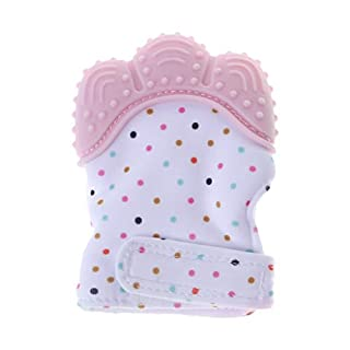Youngy Baby Teether Gloves Squeaky Grind Teeth Oral Care Teething Pain Relief Born Bite Chew Sound Toys Adjustable Silicone BPA Free Mitten Nursing Supplies - Pink