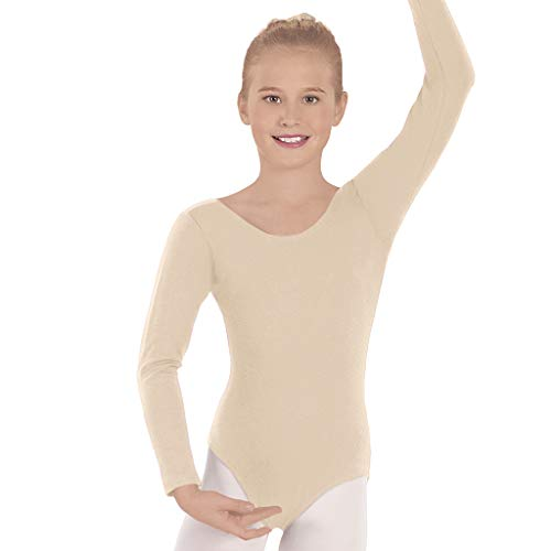 Eurotard Girls Long Sleeve Leotard with Cotton Lycra (NUDE, X-SMALL) - -