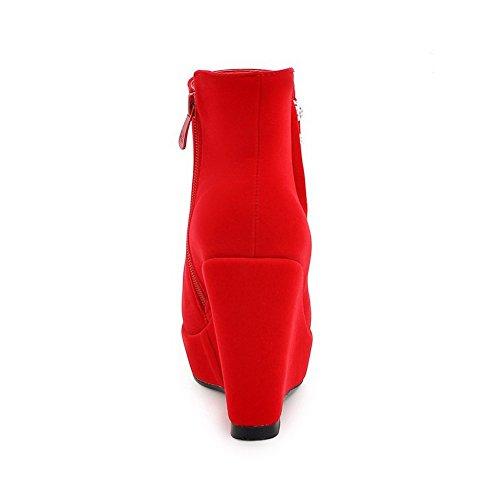 AllhqFashion Mujeres Puntera Cerrada Redonda Sólido Caña Baja Plataforma Botas con Joyas Rojo