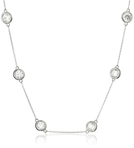 - Platinum Plated Sterling Silver Station Necklace set with Swarovski Zirconia (6mm), 36