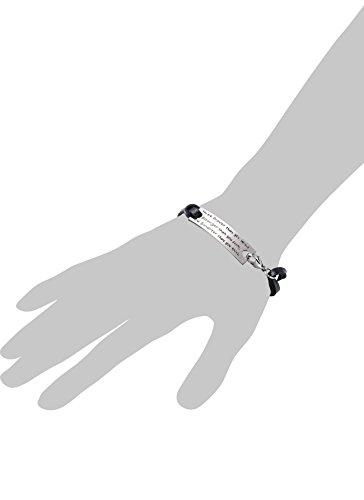 L.Beautiful Women Set of 3 Pcs Inspirational Leather Bracelets Engraved Message Motivational Charm Expandable Friendship Bracelet with Gift Box (Black)
