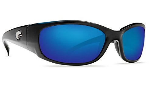 Costa Del Mar Sunglasses - Hammerhead- Glass / Frame: Shiny Black Lens: Polarized Blue Mirror Wave 580 ()