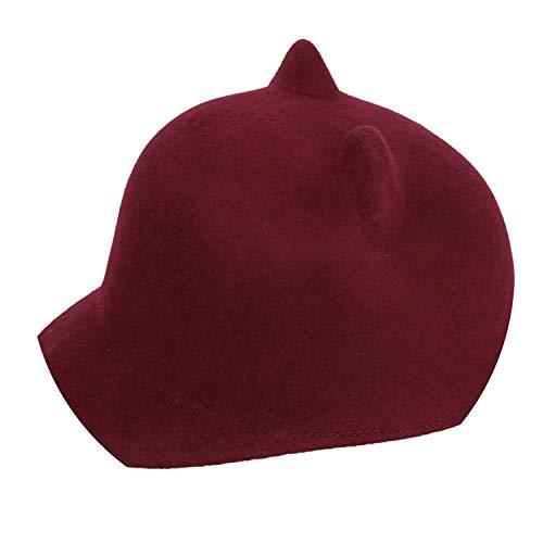 (Glittering time-Baseball Cap 100% Wool Girls Hat Winter Black,Wine)