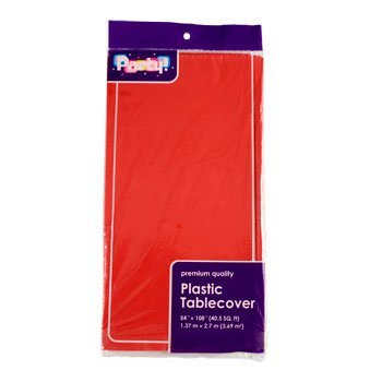 PACK OF 4: Disposable Red Plastic Tablecloths / Table Covers, 54 x 108 inches each ...]()