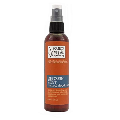 Source Vitál Apothecary | Deozein Zest Natural Spray Deodorant | Free of Parabens and Baking Soda, Non-Toxic, Odor-Controlling for Men and Women | 4.46 Fl Oz.