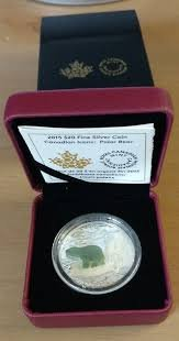 CA 2015 Canadian $20 Fine Silver Colorized Coin - Canadian Icons: Polar Bear in Original Packaging Proof