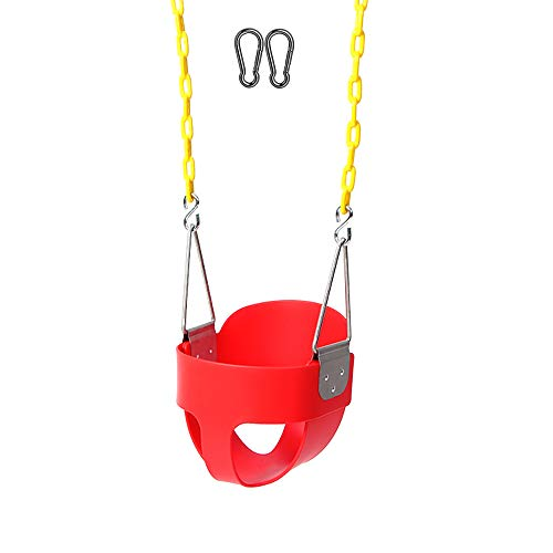 (Naughty Jungle High Back Full Bucket Toddler Swing Set Accessories with Yellow Coated Swing Chains Fully Assembled - Heavy-Duty Swing (Red))