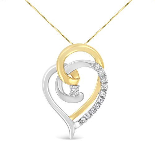 - Espira 10K Two-Tone Gold Round Cut Diamond Love is All Around Pendant Necklace (1/10 cttw, I-J Color, I2-I3 Clarity)