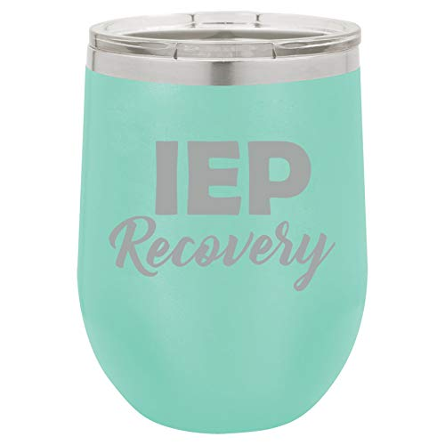 (12 oz Double Wall Vacuum Insulated Stainless Steel Stemless Wine Tumbler Glass Coffee Travel Mug With Lid IEP Recovery Special Education Teacher (Teal))