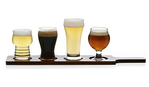 Libbey Craft Brews 4 piece Beer Set with Wood Carrier