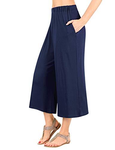 GlorySunshine Women's Elastic Waist Solid Palazzo Casual Wide Leg Pants with Pockets (2XL, Blue) ()