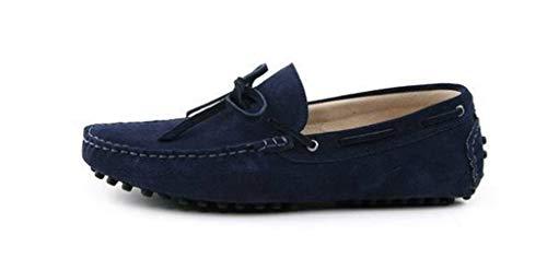 Minitoo Men'neuen Knoten Suede Boat Shoes Slipper Penny Fahren, Blau - blau - Größe: 41