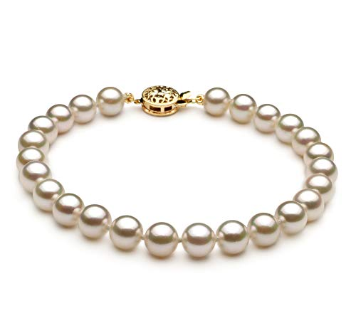 7mm Aa Japanese Akoya Pearl - White 6-7mm AA Quality Japanese Akoya Cultured Pearl Bracelet for Women-8.5 in Length