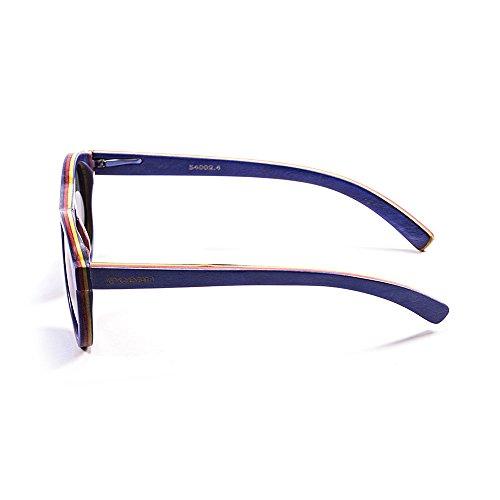Ocean Sunglasses FijiLunettes de Soleil Mixte Adulte, Skate Wood Blue Light Frame/Revo Blue Lens