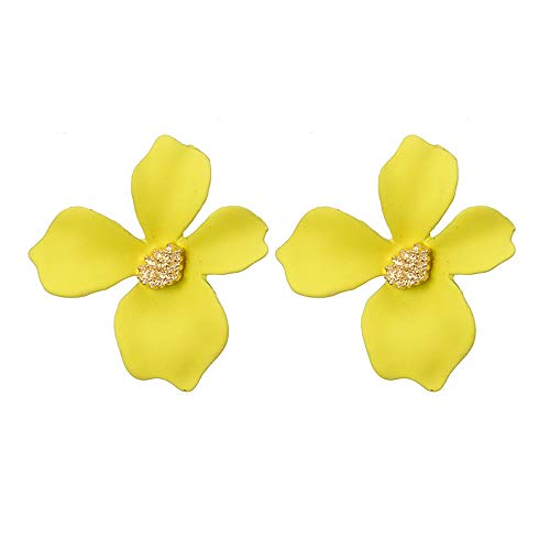 Clearance Sale!DEESEE(TM)Women Fresh Temperament 5-Color Petal Flower Earrings Alloy Earrings (Yellow)