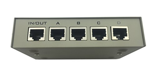 CERRXIAN 4 Port 100 MHz 4 in 1 Out or 1 in 4 Out RJ45 Ethernet Network Manual Switch