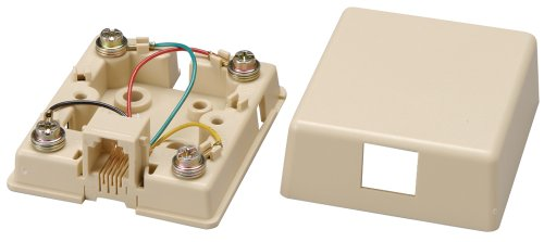 Allen Tel Products AT468-4 1 Port, Mounting Screw, Snap-On Cover, 6 Position, 4 Conductor Modular Surface Outlet Jack Screw Terminal, Ivory (Telephone Outlet)
