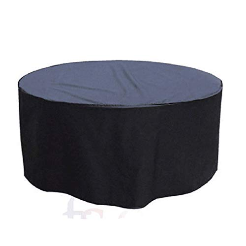 QEES Patio Furniture Cover, Heavy Duty Waterproof Outdoor Round Table Cover, Patio Cover for Patio Furniture & Accessories 56″ (D) x 26.7″ (H) JJZ177