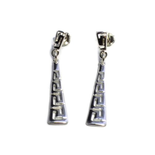 - Sterling Silver Rhodium Plated Ancient Greek Key Drop Earrings