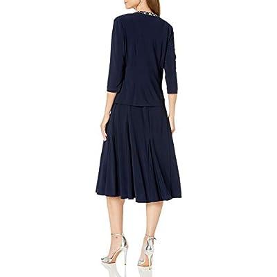 Alex Evenings Women's 2 Piece Tea Length Jacket Dress with Sequin Beaded Trim: Clothing
