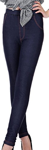 Lovful Women's Winter Warm Denim Legging Fake Jeans Thick Full Length Leggings Fleece Lined Jeggings,Dark Blue by Lovful