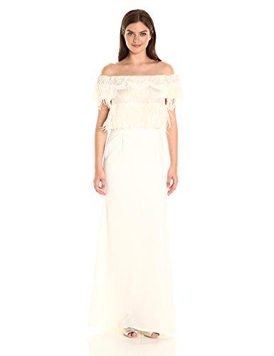 Tadashi Shoji Women's Off The Shoulder Feather Trim Bridal Gown, Ivory, 4