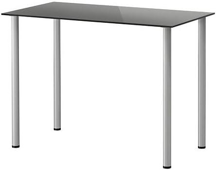 IKEA GLASHOLM / Aðils - Mesa, vidrio negro, plata color - 99x52 cm ...