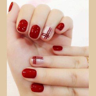 Mimei 24 Piezas Uñas Pstizas Cortas, Uñas Postizas Rojos con Línea Doble, Uñas Postizas