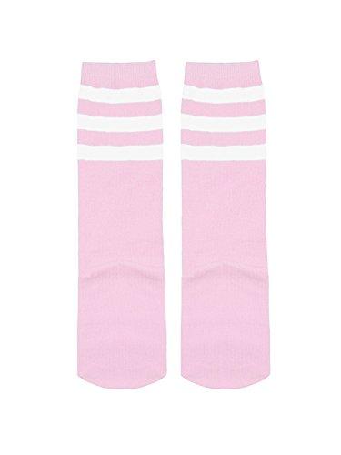Zando Kids Child Cotton Three Stripes Sport Soccer Team Socks Uniform Tube Cute Knee High Stocking for Boys Girls 1 Pairs Pink White One Size