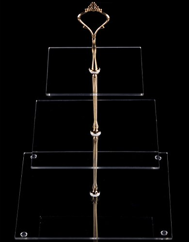 3 Acrylic Handle - estBuy 3 Tier Square Clear Acrylic Handle Cupcake Stand (Golden Crown)