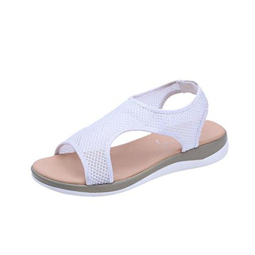 Ansenesna Sandalen Damen Sommer Flach Offen Romeinse Sommerschuhe Stoff Atmungsaktiv Strand Outdoor Schuhe Weiß