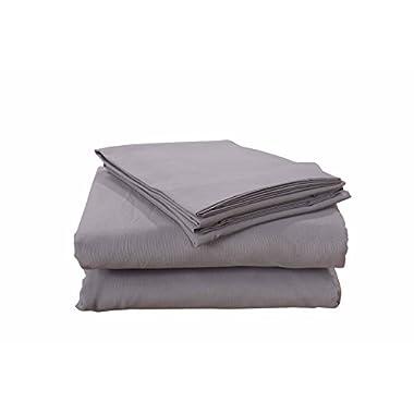 Honeymoon 4PC Alloy/Light Grey Microfiber Full Size Bed Sheet Set Deep Pocket, Egyptian Cotton, Super Soft, Sensitive Skin, Breathable, Fine Workmanship, HM00320001F-ALLOY