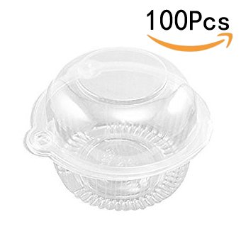 (Clear Dome Individual Plastic Cupcake Muffin Single Container Box (100 Pcs))