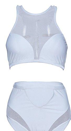 Baymate Mujer Banador Playa Verano Traje de Baño Dos Piezas Bikini Blanco