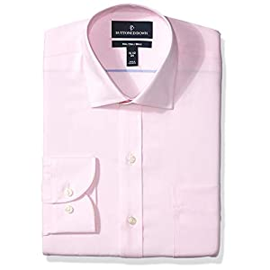 Amazon Brand – Buttoned Down Men's Slim-Fit Spread Collar Solid Pinpoint Dress Shirt, Supima Cotton Non-Iron