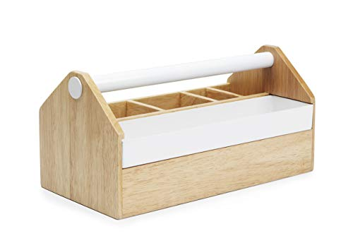 - Umbra Toto Storage Box, Modern Storage Caddy Great for Storing Makeup Brushes, Stationary, Birch Wood/White Metal Finish
