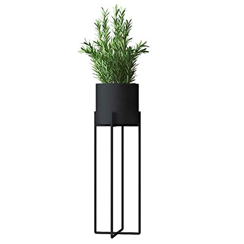 JOANNA'S HOME Tall Modern Plant Stand Plant Pot with Stand Indoor Outdoor Decor Rust Resistant Potted Plant Stand for Living Room Bedroom Porch 27 Inch - Black