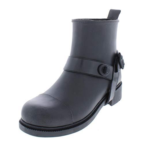 Coach Womens Moto Rain Rubber Closed Toe Ankle Rainboots, Black, Size 7.0 ()
